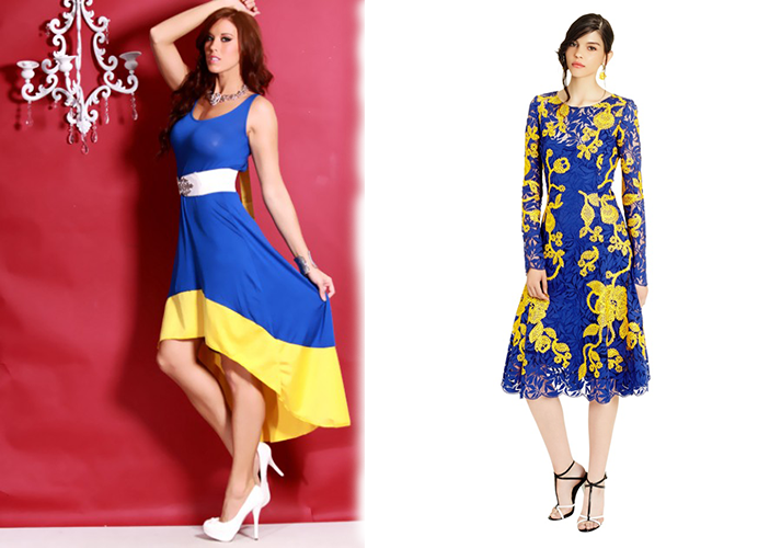 ... another color with accessories. For example, a blue bag, blue suede shoes, a wide blue belt or a hairpin can perfectly match your yellow and blue dress.