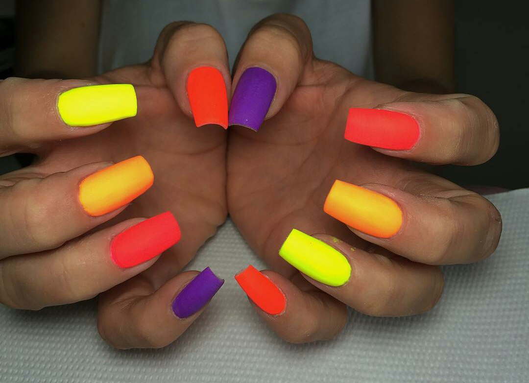 Multicolor Nails With Diffe Colors