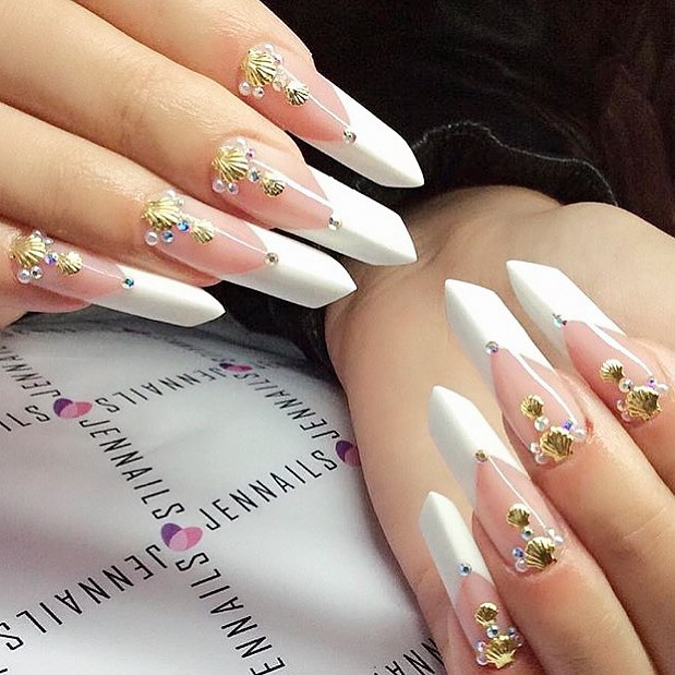 Edge Shaped Nails Nail Designs Art