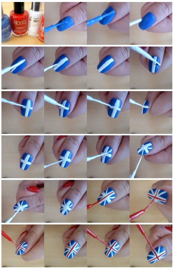 British flag nails art and designs ladylife step 2 apply the base coating itll not only protect the nail plate from yellowing but also make the nail plate smoother due to this the future picture prinsesfo Gallery