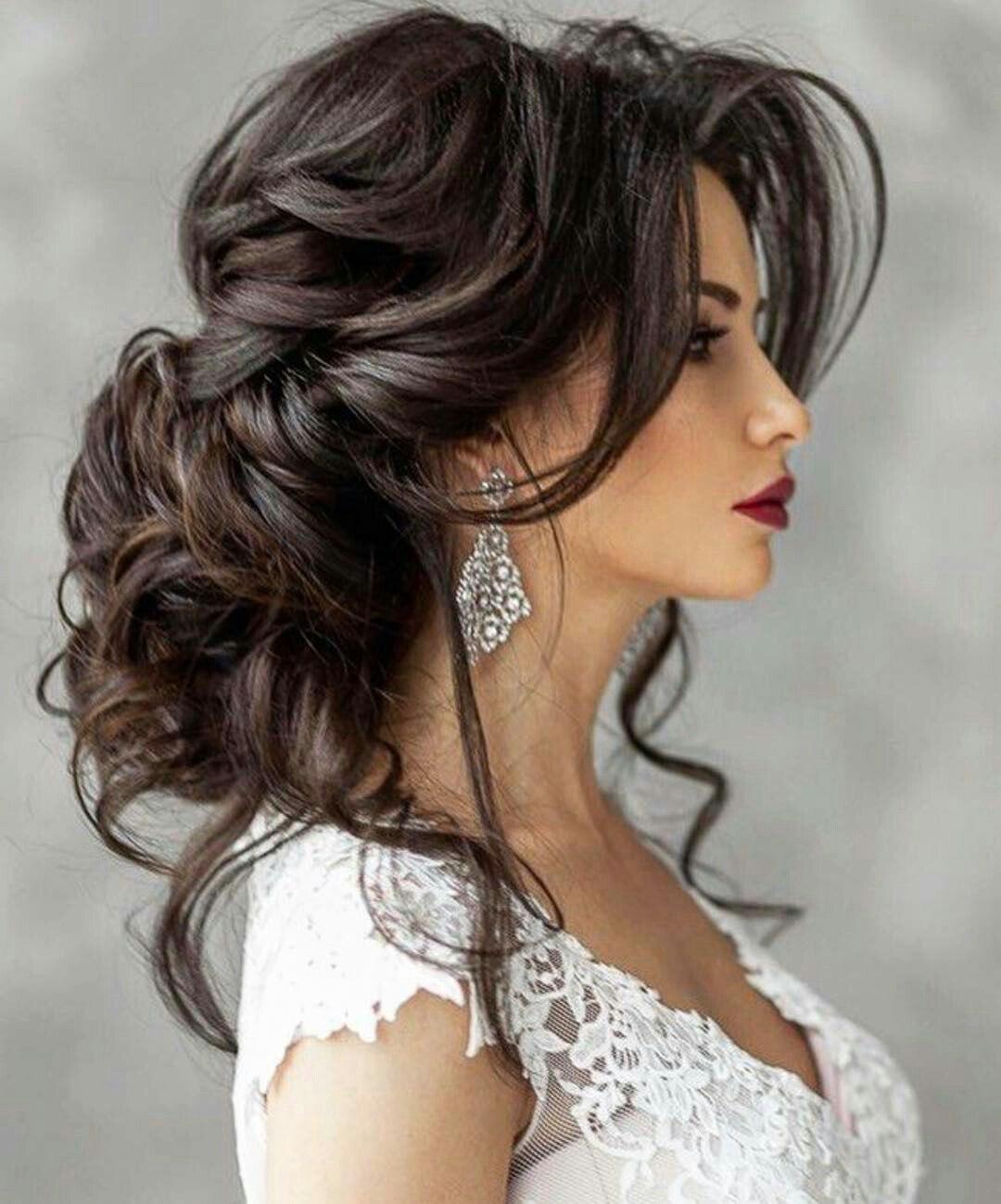 Прически свадебные для темных волос
