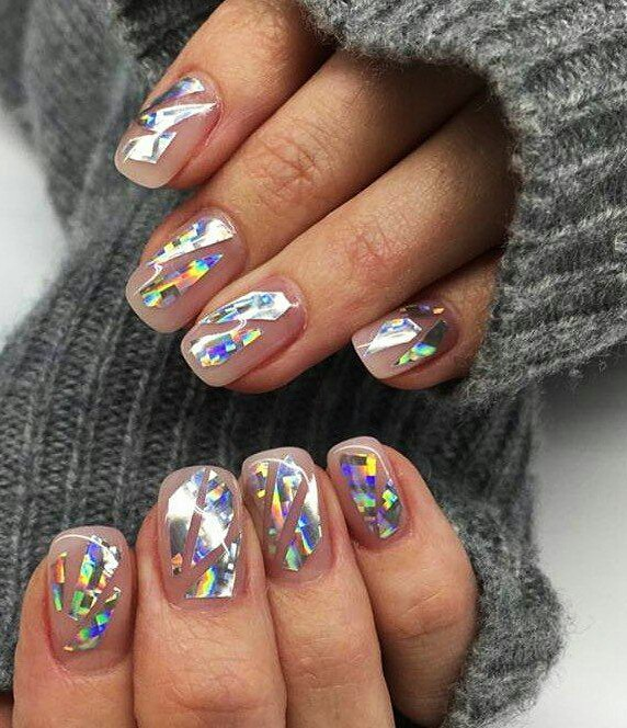 Shattered glass nail art broken glass nail designs ladylife as the technique of manicure is not so difficult by learning special pictures showing the results of nail designs you will able to choose shattered glass prinsesfo Images