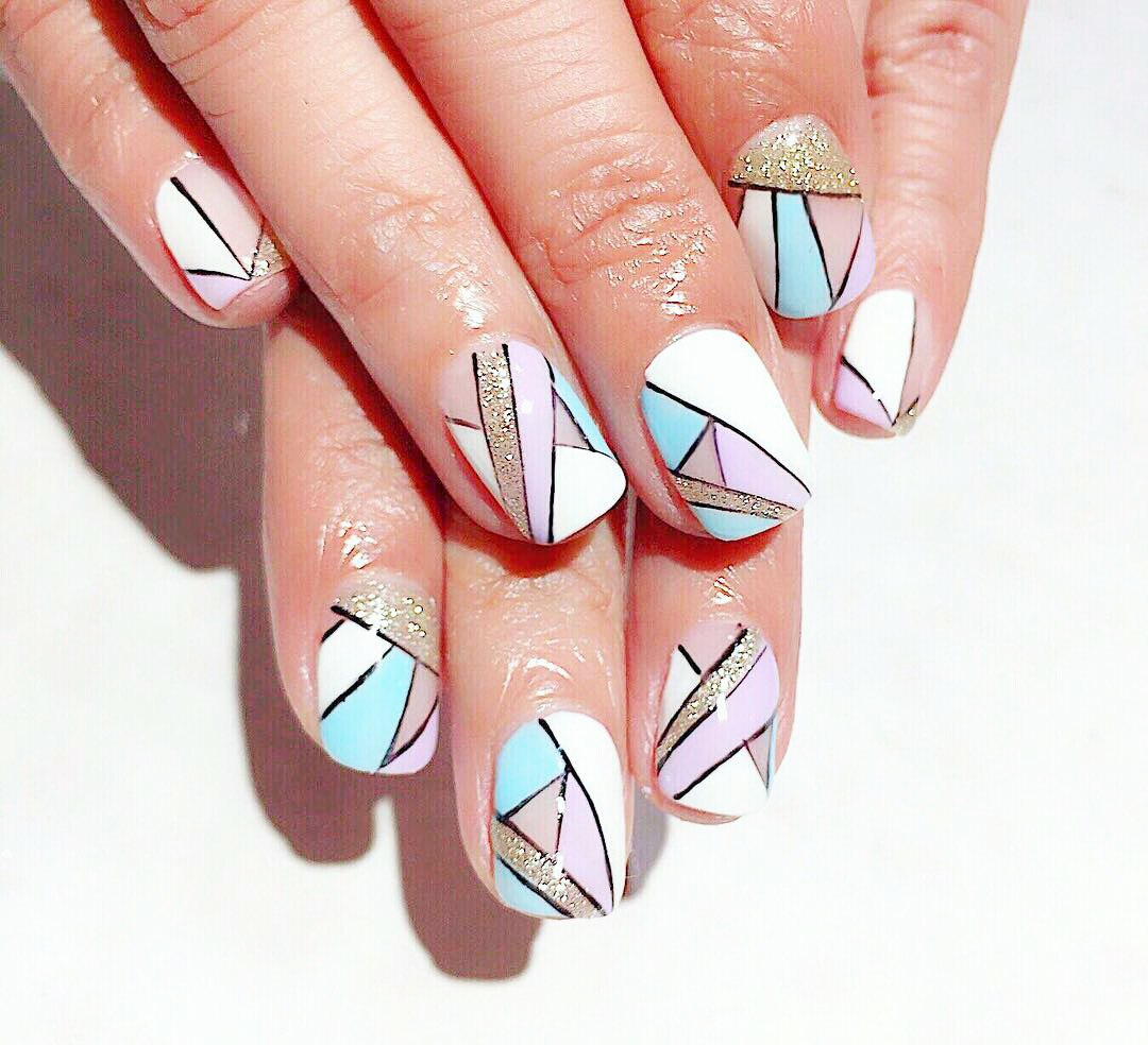 Geometric nail art is a wonderful idea to prove your art and come up you're  your own interesting nail design. By the way, you will enjoy the process of  ... - Geometric Nail Art: Beautiful Design With Tutorial LadyLife