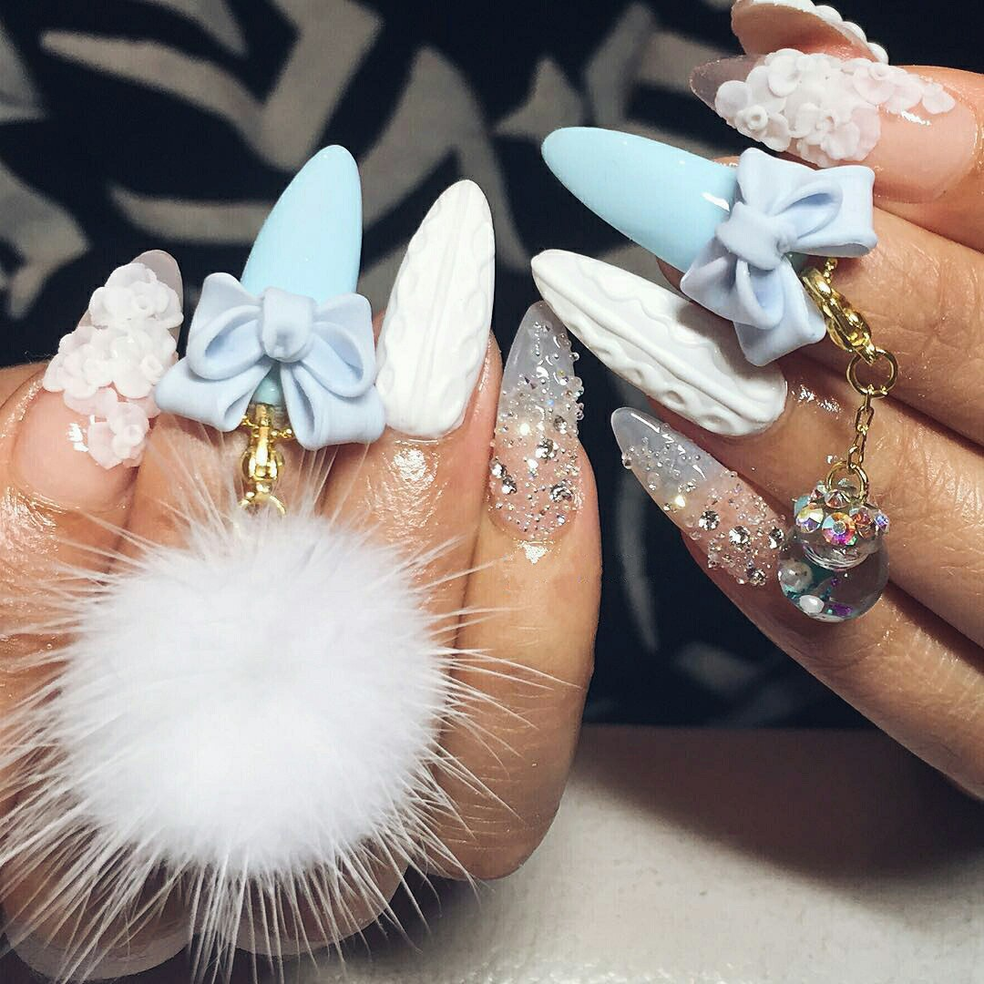 3d bow nail designs