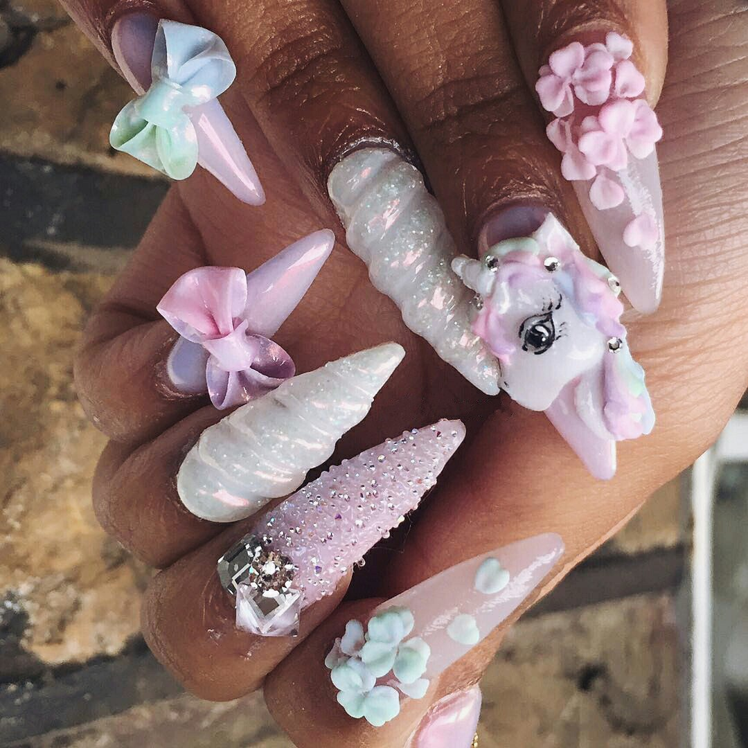 nail art with 3d bows