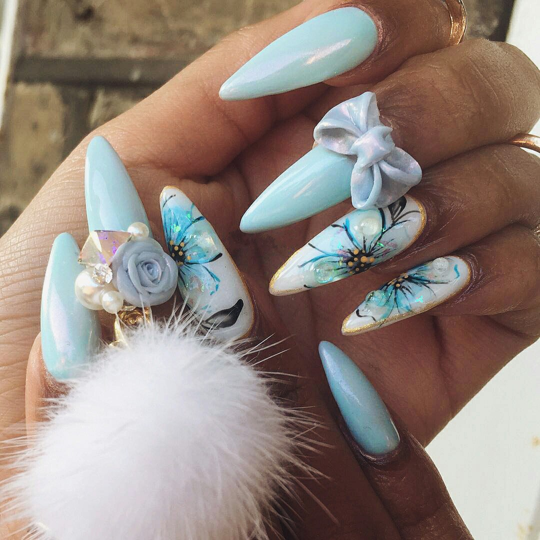 acrylic nails with 3d bows