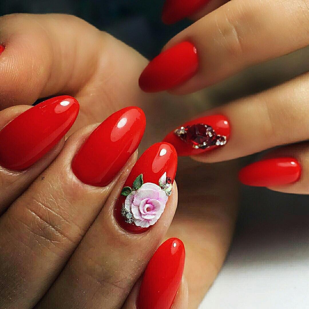 red 3d nail art