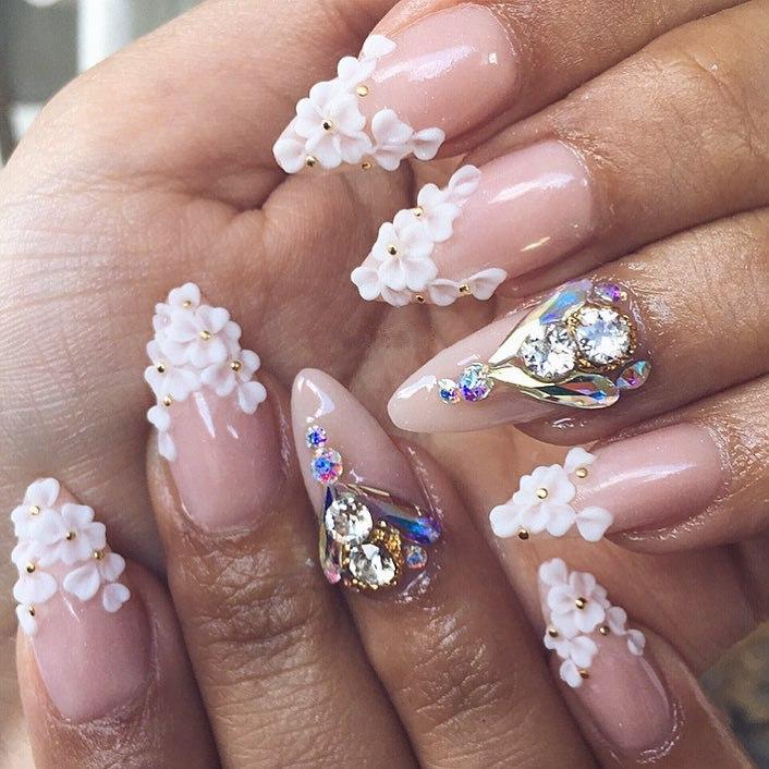 pink 3d nail designs