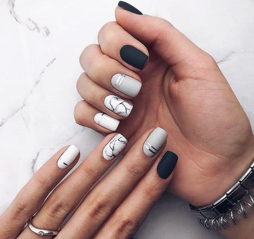In spring 2018, many designers offer to combine the French and moon nail  designs. This combination looks very stylish especially on short and medium-length  ... - Spring Nail Art 2018: Cute Spring Nail Designs Ideas LadyLife