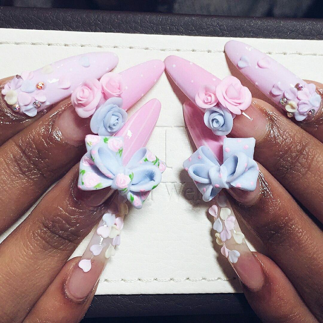 3d acrylic nail bows