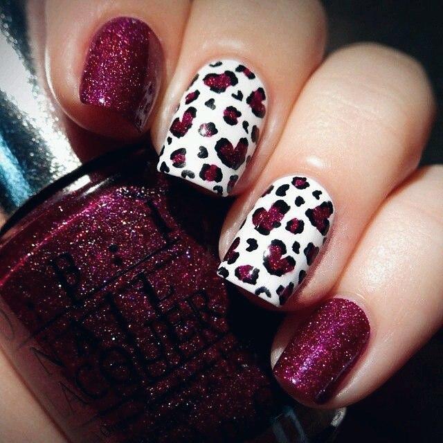 valentine fingernail art