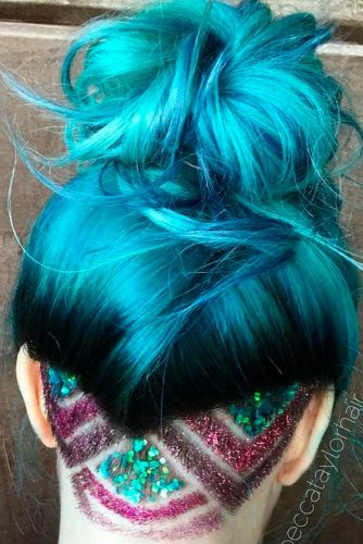 Blue Hair with Sparkle Undercut