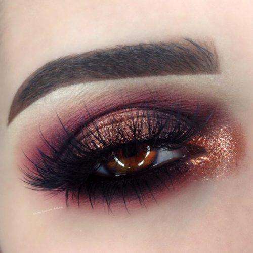 Burgundy Gold and Black Eyeshadows on Brown Eyes