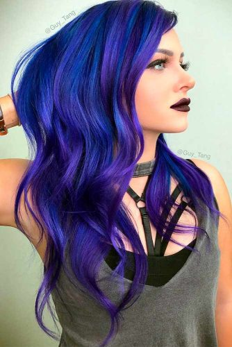 Deep Blue with Purple Highlights
