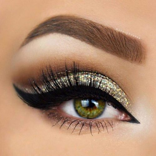 Glitter Cut Crease Eyes Makeup