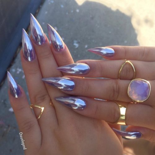 Purple Chrome Stiletto Acrylic Nail Designs