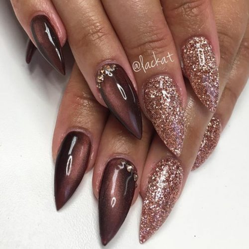 Stiletto nails are all the rage this season and this pretty fall design is  no exception. The pretty mauve polish and sparkling pink on alternating  fingers ... - Fall Nail Designs 2019: 40 Cute Fall Nail Art Ideas LadyLife