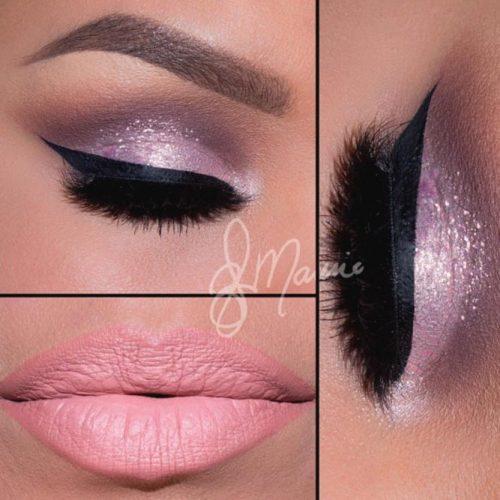 Pink Glitter Eyeshadows on Brown Eyes