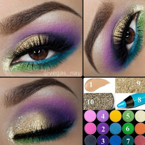 Purple, Green and Gold Eyeshadows on Brown Eyes