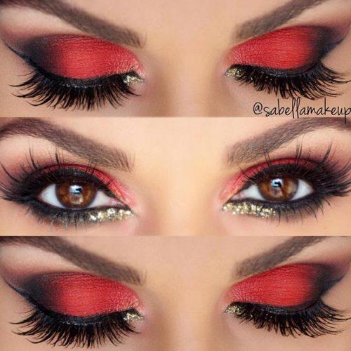 Red Smokey Eye with Gold Glitter