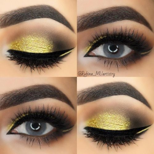 Gold Smokey Eye Makeup Idea