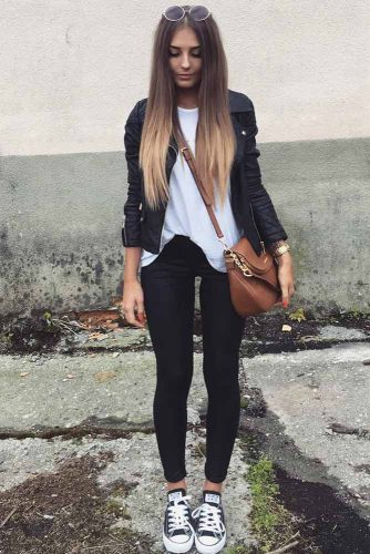 eb4aaa8003e Another cute jean jacket look is this dark denim jacket paired with dark  skinny jeans and a casual white t-shirt. Don t forget your favorite tennis  shoes ...
