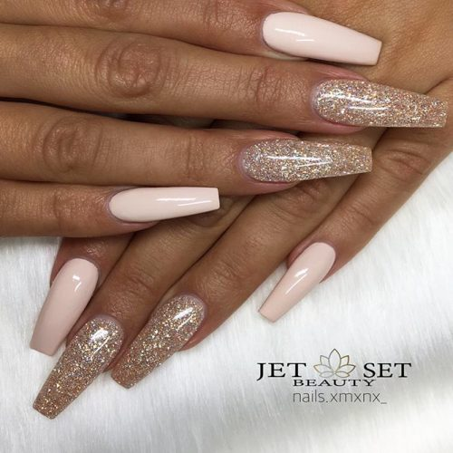 Beautiful Glitter Nude Nails Designs Picture 3