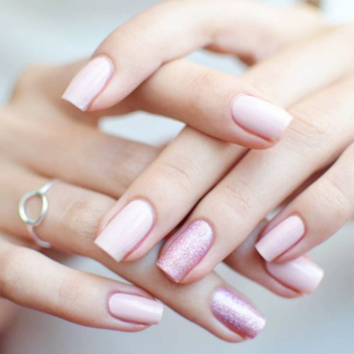 Beautiful Glitter Nude Nails Designs Picture 4