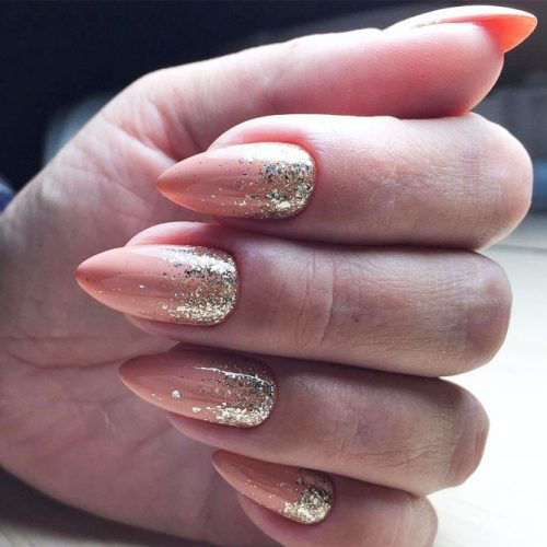 Classy Nude Nails With Gold Glitter Ombre #glitternails #goldglitter