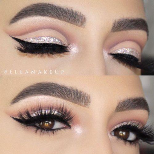 Cut Crease With Glitter Eyeline #cutcrease #glitterline