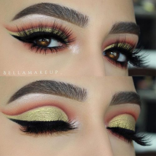 Gold Cut Crease Makeup For Amber Eyes #goldeyeshadow #cutcrease