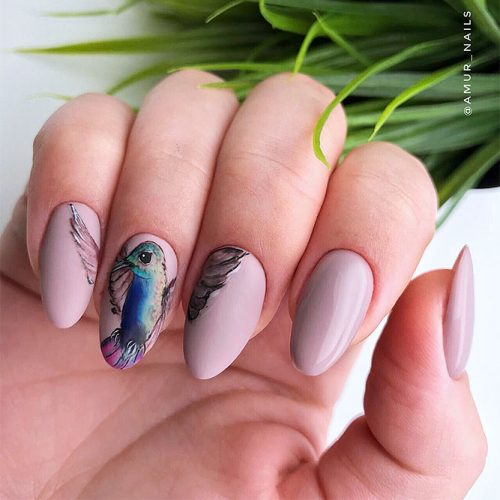 Matte Almond Shaped Nails Picture 2