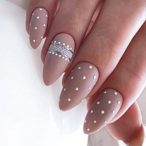 Nude Nails With A Polka Dot Design #polkadotsnails #mattenails