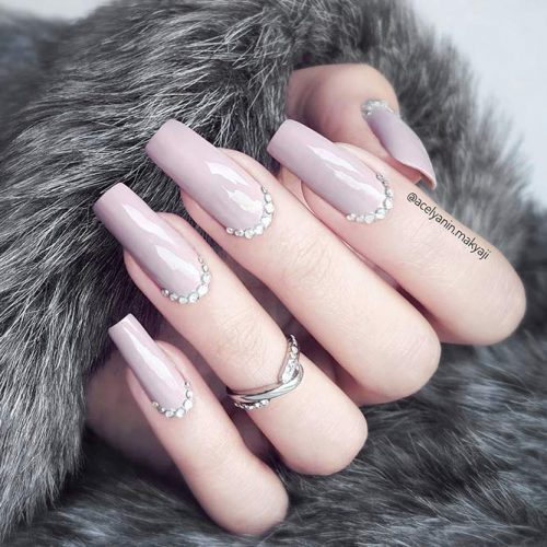 Nude Nails with Rhinestones Picture 6
