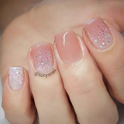 Short Nails With A Nude Glitter Design #shortnails #glitternails