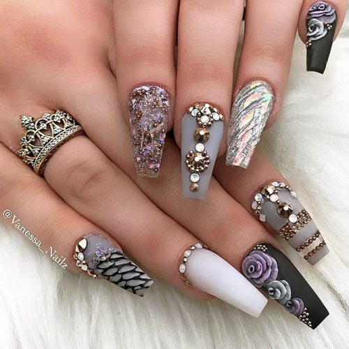 ... Sparkling Ballerina Nail Designs with Stones Picture 4 ... - Ballerina Nails Designs: 27 Ballerina Shaped Nails Ideas LadyLife
