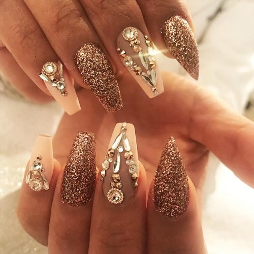 Sparkling Ballerina Nail Designs with Stones Picture 1